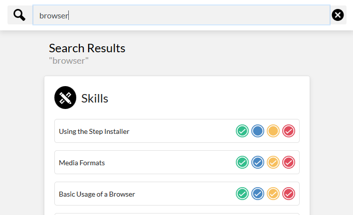 A skill search for the keyword browser resulting in 3 matches