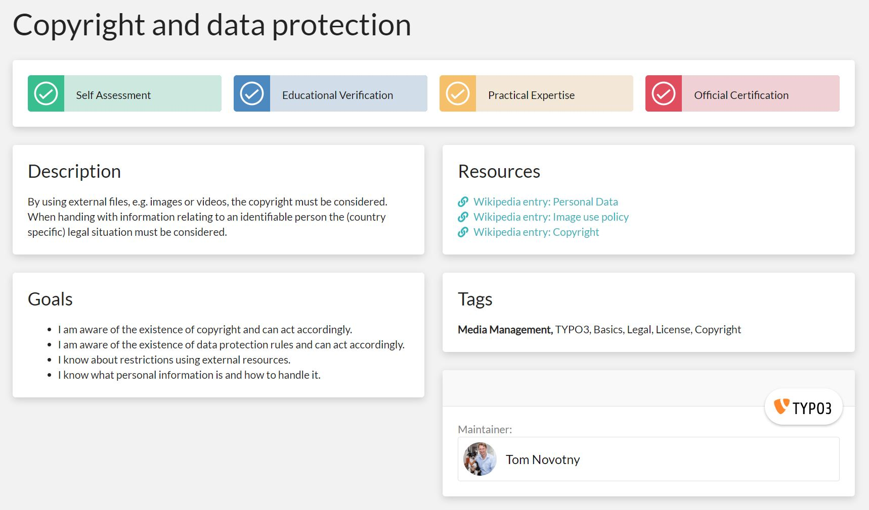 "A single skill view for the skill ""Copyright and Data Protection"". The view features the description, goals, resources, tags and maintainer, as well as the stakeholder verification buttons."