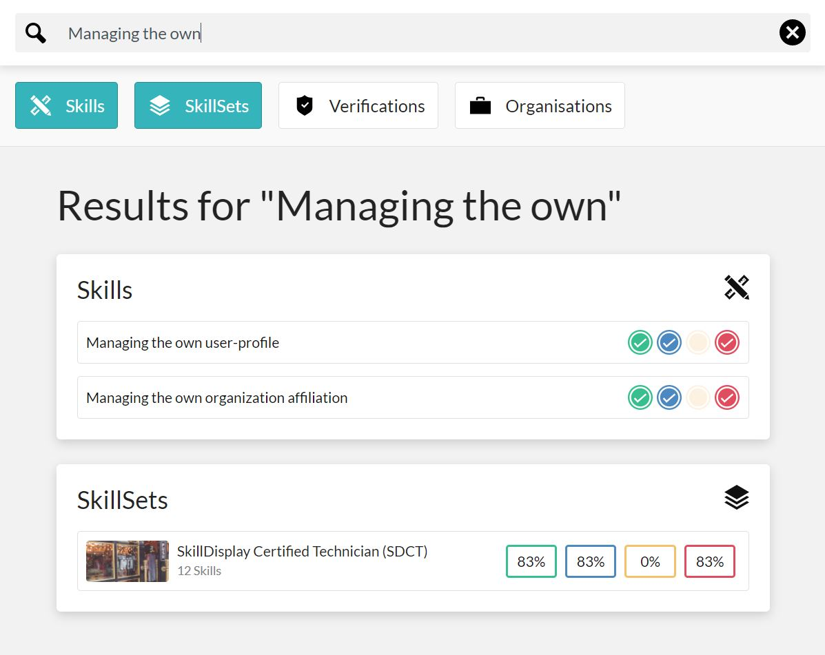 "A filtered result in the SkillDisplay app when searching for the term ""managing the own"". The result shows two matching skills, as well as one SkillSet, each indicating the users progress in the respective SkillSets. A filter bar indicates that the search was filtered to show Skills and SkillSets only, omitting Verifications and Organisations"